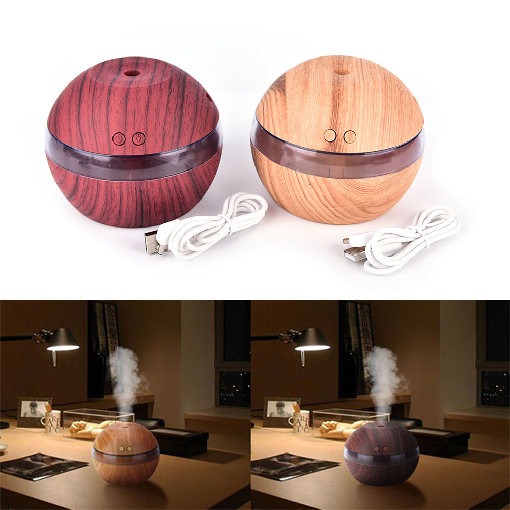1Pc Wood USB Ultrasonic Humidifier Aroma Diffuser Essential Oil Diffuser Aromatherapy mist maker with Blue LED