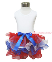 4th July Girl Plain White Pettitop Red White Blue Bow Petal Pettiskirt NB-8Year MAMH208