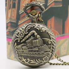 New Arrival Vintage Bronze Train Front Locomotive Engine Necklace Retro Quartz Pocket Watch Chain Railway Watch Free Shipping