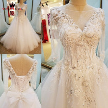 Buy Long Sleeve A-line V-neck Lace Beaded Ivory Wedding Dresses Elegant Bride Dress Wedding Gowns 2018 New Design Custom Made XG04 for $268.00 in AliExpress store