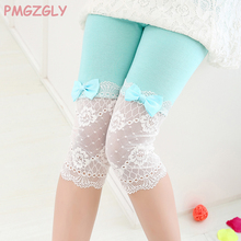 Girl Pants Kids trousers Bow lace Capris Summer Thin Children's Clothing Kids Princess Cotton Legging trousers(China)