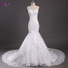 Buy Waulizane Sweetheart Mermaid Wedding Dresses Lace Shoulder Beadings Crystals Appliques Tulle Court Train Bride Gowns for $238.29 in AliExpress store