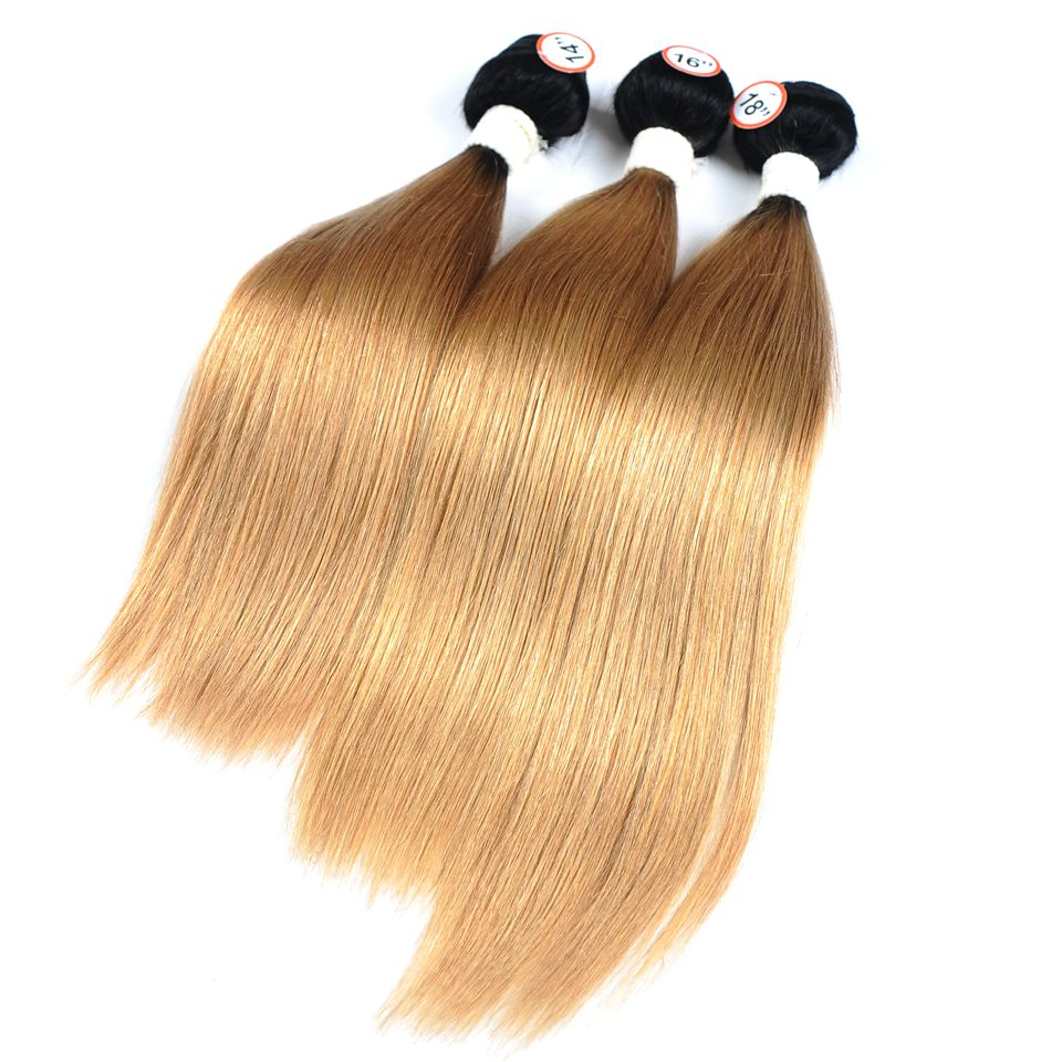 Pinshair Pre-Colored Honey Blonde 1B 27 Brazilian Straight Hair Bundles With Closure Ombre Dark Roots Human Hair Nonremy No Shed (18)