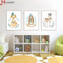 HJIAART Kawaii Garland Animal Bear Deer Fox Poster Nordic Living Room Wall Art Print Picture Home Decor Canvas Painting No Frame(China)