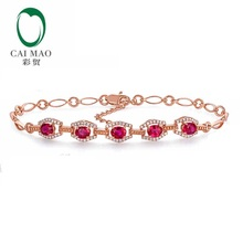 CaiMao 18KT/750 Rose Gold 1.68 ct Natural Ruby & 0.32 ct Round Cut Diamond Engagement Gemstone Bracelets Jewelry(China)