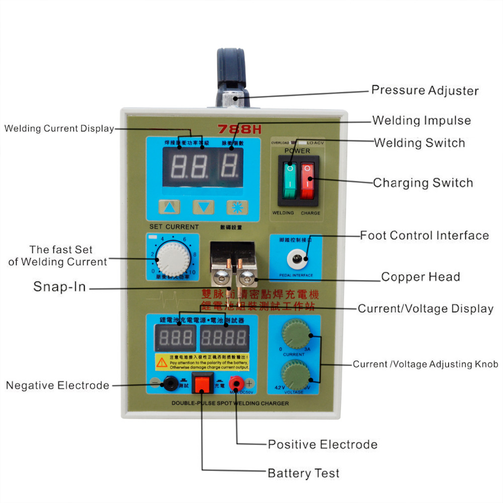 788h Led Dual Pulse Spot Welder Machine Battery Charger Wiring Diagram For It Have Foot Switch And Pressure Adjuster Which Improves The Accuracy Of Welding Item Display Specifications