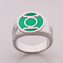 2016 DC Comics Marvel Green Lantern Ring,the Superhero Green Enamel Silver Power Ring for Men Movie Jewelry