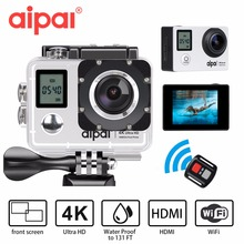 Aipal A1 Action Camera 4K Ultra HD 30fps 1080p remote Wifi 40m Waterproof Camera 2.0LCD Double Screen mini Sport Camera