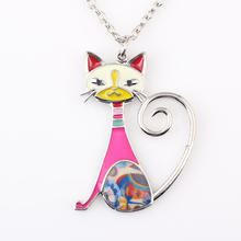 Newei Cat Necklace Enamel Pendant Zinc Alloy Plate New 2016 Fashion Jewelry For Women Girl Statement Charm Collares Accessories(China)