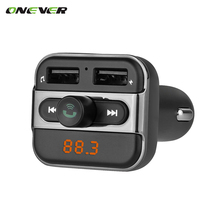 Onever Car MP3 Audio Player FM Transmitter Wireless Modulator Car Bluetooth Kit Hands Free With 3.4A Dual USB Charger TF Slot(China)