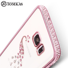 TOMKAS Silicone Case For Samsung Galaxy S7 Cute Transparent 3D Rhinestone Luxury Cover For Samsung Galaxy S7 Case Coque(China)
