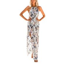 Buy Floral Print Halter Chiffon Long Dress Women Backless 2018 Maxi Dresses Vestidos Sexy White Split Beach Summer Dress