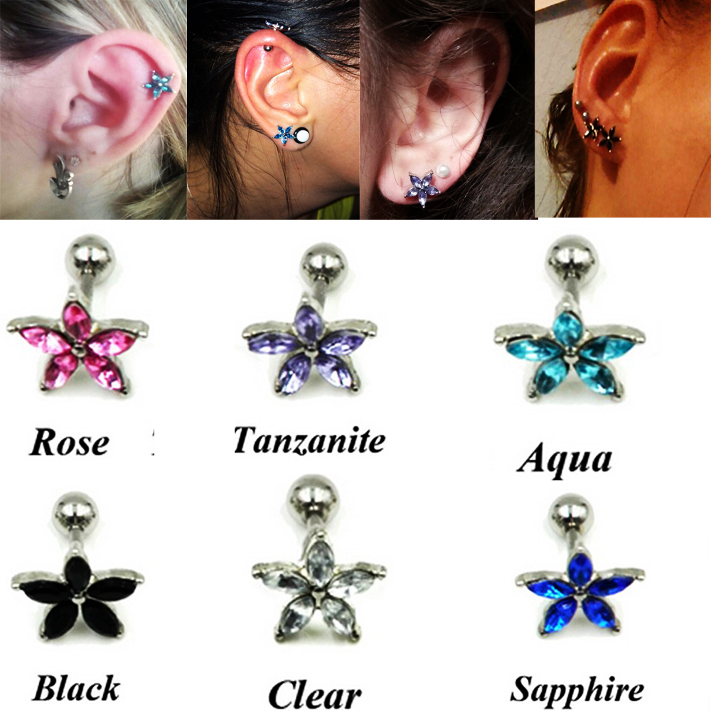 Surgical Steel Heart Love CZ Prong Tragus Cartilage Piercing Stud Bar Ear Ring
