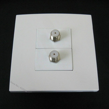 Cheap Cost Televison Cable Socket Digital TV Jack Wall Plate White Color Home Socket With 2 F Head TV Plugs(China)