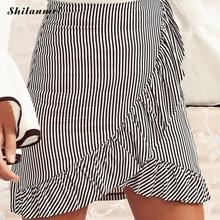 Buy Summer Ruffle Skirt 2017 Women Patchwork Mini Skirt Mermaid Shorts White Black Striped Skirts Sexy Womens Saia Harajuku Faldas for $8.16 in AliExpress store