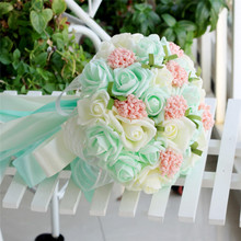 Gorgeous Bride Flower Bouquets DIY Handcraft Real Touch EVA Roses Bunch Lace Ribbon Bowtie Sweet Wedding Flower Decoration