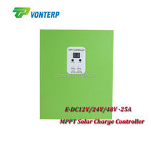 New solar charger mppt controller 25A 12V/24V/48V automatic recognition work Gel Vented NiCd etc with RS232.(China)