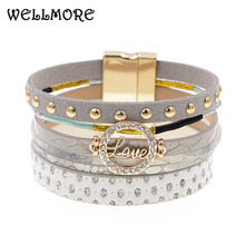 Buy WELLMORE trendy leather bracelets love charm bracelets Bohemian bracelets&bangles women gift wholesale jewelry for $3.84 in AliExpress store