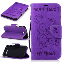 For Galaxy J7 Sky Pro Retro Flip Leather Case Cute Bear Wallet Fiber Texture Leather Stand Cover For Samsung Galaxy J7 2017(China)