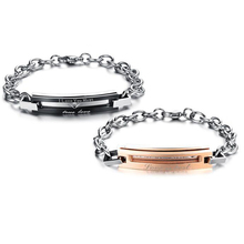 Stainless Steel True Love Couple lovers' bracelets & bangles Rose gold color Black AAA CZ Women men jewelry Titanium pulseras(China)