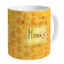 Name Custom Honeycomb with Bees Honey Birthday Gift Porcelain Ceramic Milk Mug Kitchen Cup
