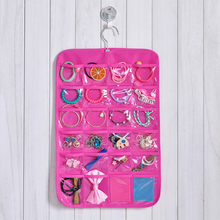 24 Pockets Jewellery Hanging Storage Bag Hair Dressing Products Necklace Earrings Organizing Bag With Hook Pink 33*50cm
