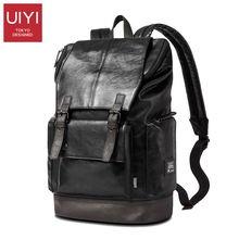 UIYI Fashion Men Black Backpack Leather Bag Men Travel Backpack Laptop Famous Brands High Quality Male Backbag #UYB16019