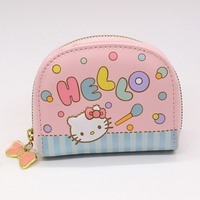 Hello kitty card holder shop cheap hello kitty card holder from free shipping patchwork business card holder women zipper wallet high quality pu blue and pink hello reheart Images