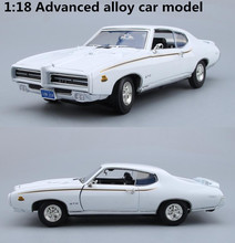 High simulation 1969 Pontiac GTO,1:18 advanced alloy collection car toys,metal diecast toy vehicles,4 open doors,free shipping(China)