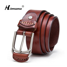 [Himunu] 2017 New Luxury Genuine Leather Brand Name Belt for Men Best Quality Male Alloy Pin Buckle Belts Black Dark Coffee(China)