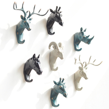 Newly Produced Deer Rhino Elephant Giraffe Horse Animal Decorative Hook Creative Resin Model Bathroom Wall Hook Coat Wall Hook