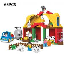 Kid's Home Toys Large Particles Happy Farm Animals Paradise Model Building Blocks Large Size DIY Brick Toy Compatible With Duplo
