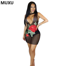 Buy MUXU new sexy transparent dress sleeveless summer short dress women clothing jurken bandage elbise mesh embroidery clothes MINI for $16.26 in AliExpress store