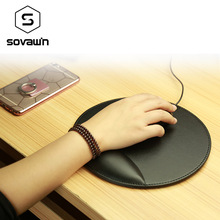 Sovawin Business 3D Leather Computer Mouse Pad with Wrist Rest Ergonomic Office Soft Sponge Wrist Support Mat mousepad for PC(China)