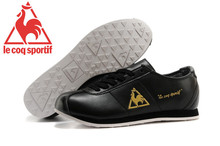 Le Coq Sportif Men's Running Shoes,High Quality Cow Leather Upper Le Coq Sportif Men's Athletic Shoes Sneakers Black/Golden 5