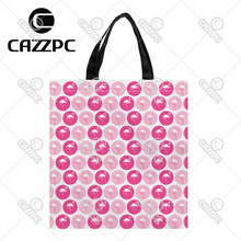Pink Dot and Fuschia Dot with Flamingo Pattern Print Custom individual waterproof Nylon Fabric shopping bag gift bag Pack of 2