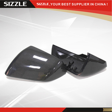 For Ford Mustang American Edition 2014 2015 Replacement Style Carbon Fiber Rear View Mirror Cover With LED Turn Light