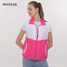 WINTRESS Can Custom Logo Women Vest Sleeveless Double Pockets Color Matching Turn-Down Collar Waistcoat Volunteers Clothes(China)