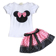 Hot Infant Baby Toddler Girl Clothing Sets Kids Summer Bow Skirt Dress / Bloomers Top T-shirt Outfits Set Minni Outfits Clothes