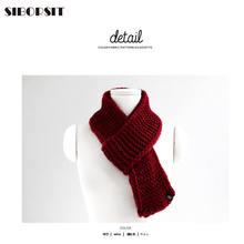 2017 Korean wool knit scarf men and women autumn and winter solid color wild couple mini small wave pattern scarf