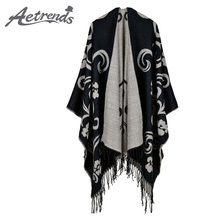 [AETRENDS] 2017 New Vintage Cape Cashmere Feel Ponchos Women Long Winter Poncho Scarf Pashmina Z-6166()