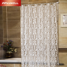 Europe Floral pattern PEVA White Transparent Moldproof Waterproof  Thickened Shower Curtain bathroom products Bathroom Curtains