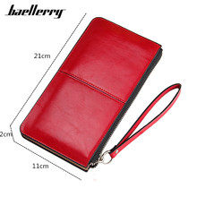 Wallet Women Oil Wax PU Leather Wallets Wristlet Zipper Long Designer Women's Purse Candy Color Card Holder Famale Clutch Wallet(China)