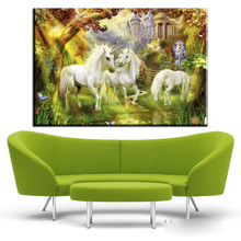 ZZ423 Thomas kinkade unicorn oil painting canvas pictures for home decoration canvas prints art wall decor art paintings(China)