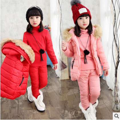 Kids 2017 new winter big virgin baby sports suit casual cotton three-piece girls clothes 3-12 years girls Jacket Vest Pants<br><br>Aliexpress