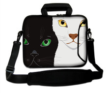 "White And Black Cat Design 10""13""14""15""17"" Neoprene Computer Messenger Sling Kits Netbook Handle Portable Forder Bag For Sony(China)"