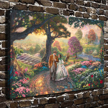 H1167 Thomas Kinkade Gone With The Wind, HD Canvas Print Home decoration Living Room bedroom Wall pictures Art  painting