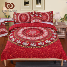 BeddingOutlet Red Mandala Bedding Set Elephant Messenger Indian Duvet Cover wiith Pillowcases Soft Moroccan Bedclothes 4Pcs Hot