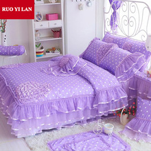 Sweet Princess silk Lace Ruffles duvet cover bedspread bed skirt bedclothes bedding set 4pcs pillowcases king queen pink/purple