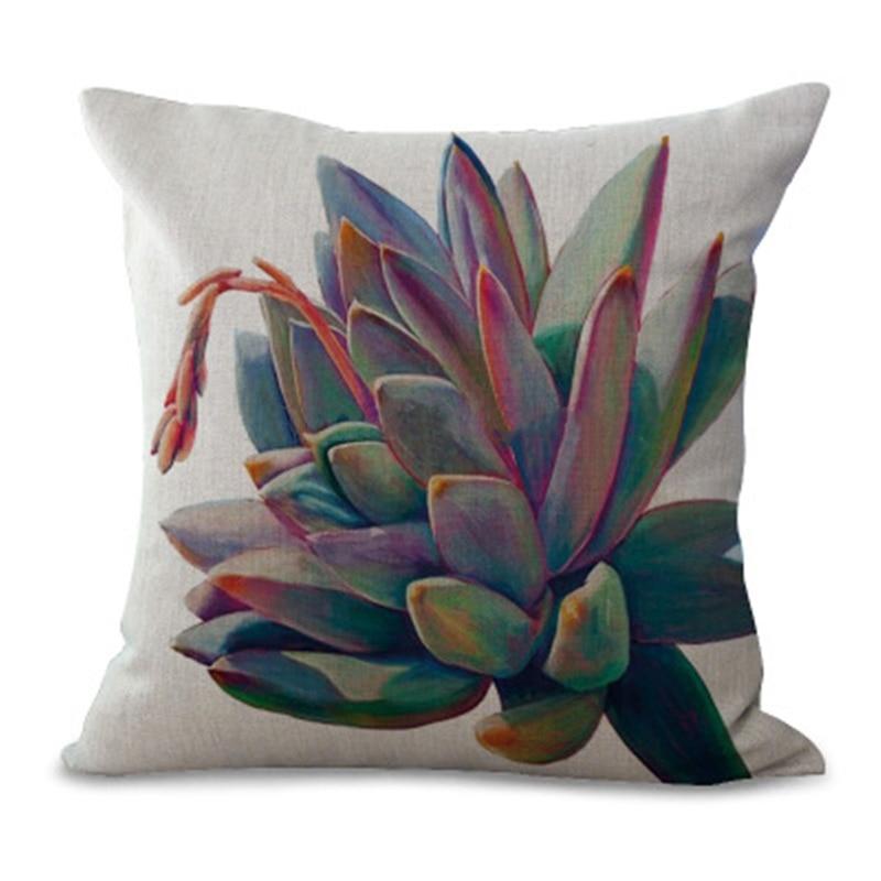 Plant Pillow Cover Succulent Cactus Pillow Case Colorful Cactus Cushion Cover for Home Sofa Decoration Pillowcase